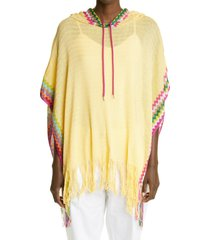 women's missoni zigzag hooded poncho, size one size - yellow