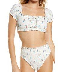 billabong x wrangler meadowlands smocked bikini top, size small in salt crystal at nordstrom