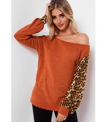 camiseta de moda de leopardo en bloque naranja
