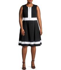 front zip colorblock fit-&-flare dress