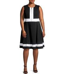 plus front zip colorblock fit-&-flare dress