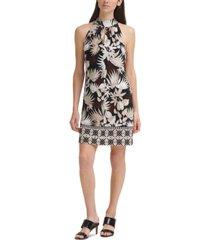 calvin klein printed a-line halter dress