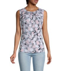 calvin klein women's floral-print gathered top - rose - size xs