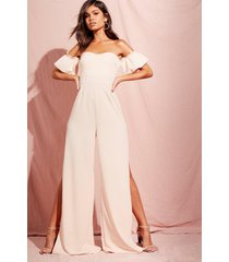 bardot gathered sleeve wide leg jumpsuit, blush