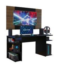 mesa gamer madesa 9409 e painel para tv até 58 polegadas preto/rustic cor:preto/rustic