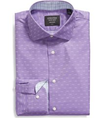 men's big & tall nordstrom trim fit non-iron dress shirt, size 18 - purple