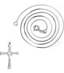 kit colar corrente vanglore veneziana e pingente crucifixo vanglore 2603 prata