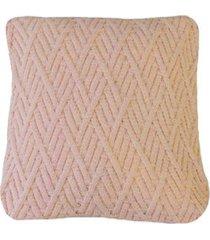 capa almofada tricot 45x45cm c/zíper sofa trico cod 1025 rosa