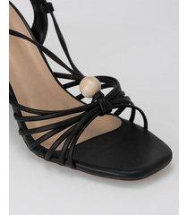 amaro feminino sandália amarração e tiras finas, preto