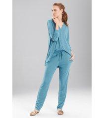 speckled interlock pants pajamas, women's, blue, size xl, n natori