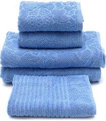 jogo de banho 5 pçs buddemeyer mosaico azul 70x135