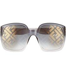 women's fendi 58mm square sunglasses - ochre/ brown