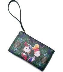 pochette da donna serie winter forest con portafoglio lungo da collezione bohemian print