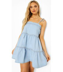 chambray swing jurk met laagjes, mid blue