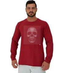 camiseta manga longa moletinho alto conceito caveira moldura reticular monocromatica vermelho escuro - kanui
