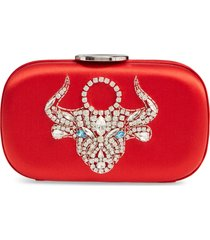 giambattista valli zodiac embellished clutch - red