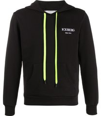 iceberg embroidered logo relaxed-fit hoodie - black