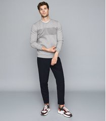 reiss arty - textural stripe sweatshirt in grey/grey, mens, size xxl