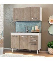armário aéreo honduras e balcão gabinete de pia suécia 120cm branco/castanho - lumil móveis