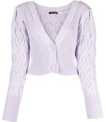 wandering mix-knit cropped cardigan - purple