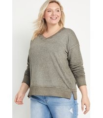maurices plus size womens solid v neck sweatshirt blue