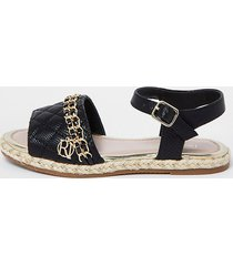 river island girls black quilted chain sandals