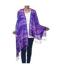 tie-dyed silk and wool blend shawl, 'ultramarine beauty' (india)