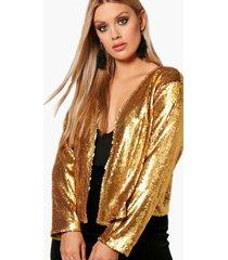 plus power shoulder waterfall sequin jacket, gold