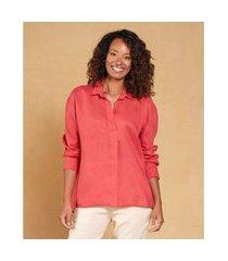 camisa linho manga longa cor: vermelho - tamanho: pp