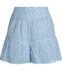 eyelet ruffle woven shorts