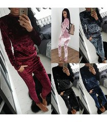 women's tracksuit velvet long sleeve sportsuit 2 piece slim pants hoodies set