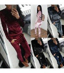 women's tracksuit velvet long sleeve sportsuit 2 piece slim pants hoodies set