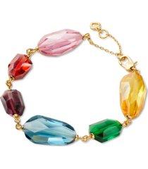 kate spade new york gold-tone multicolor crystal flex bracelet
