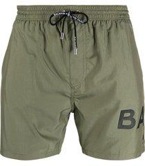 balmain logo-print drawstring swim shorts - green