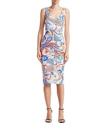 paisley ruched bodycon dress