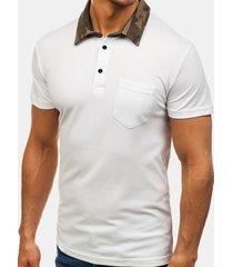 camicia da golf casual a maniche corte da uomo slim fit camo con stampa colletto