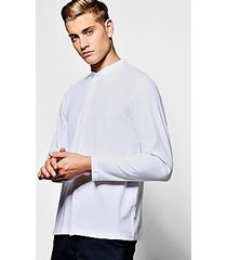 pique long sleeve grandad shirt