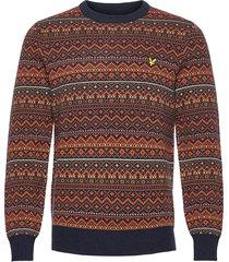 fair isle knit jumper gebreide trui met ronde kraag blauw lyle & scott