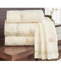 jogo de toalhas (banho e rosto) gigante coleção aspen palha algodão 400 fios com 5 peças - ruth sanches