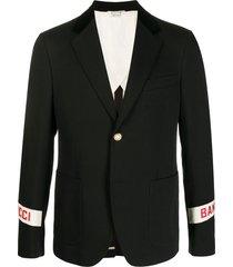 gucci gucci band cuff blazer - black