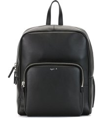 agnès b. logo-print square backpack - black