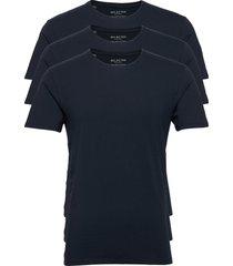 slhnewpima ss o-neck tee b 3 pack noos t-shirts short-sleeved blå selected homme