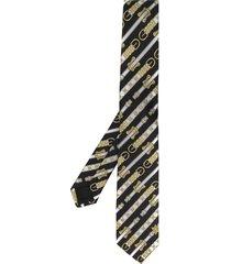 versace western belt print tie - black