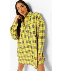 tall oversized geruite blouse jurk, yellow