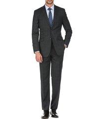 english laundry men's slim-fit windowpane wool suit - grey - size 48 r