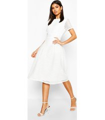 boutique full skirted prom midi dress, ivory