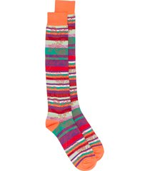 etro striped jacquard socks - orange