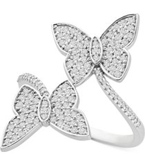 wrapped in love diamond butterfly bypass statement ring (1/2 ct. t.w.) in 14k white gold, created for macy's