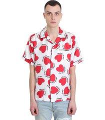 amiri hearts pajama shirt in white silk