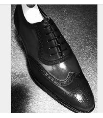 handmade men black formal wingtip shoes, men spectator black dress shoes